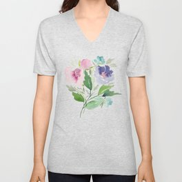 Purple and Pink Peonies Unisex V-Neck