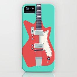 Retro 60s Guitar - Aqua iPhone Case