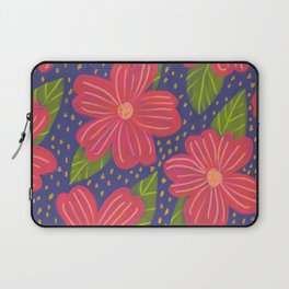 red flowers navy background pattern Laptop Sleeve