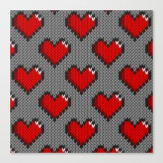 Knitted heart pattern - gray Canvas Print