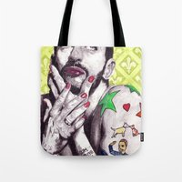 marc johns Tote Bags featuring Marc Jacobs by Joseph Walrave