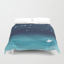 Garlands of stars, watercolor teal ocean Duvet Cover