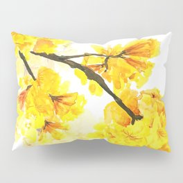 yellow trumpet trees watercolor yellow roble flowers yellow Tabebuia Pillow Sham