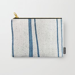 Parallel Universe [vertical]: a pretty, minimal, abstract piece in lines of vibrant blue and white Carry-All Pouch