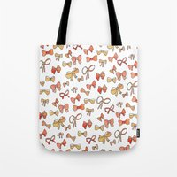 bows Tote Bags featuring Bows by Jen Gottlieb