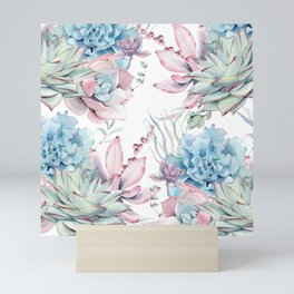 Pretty Pastel Succulents Garden 2 Mini Art Print