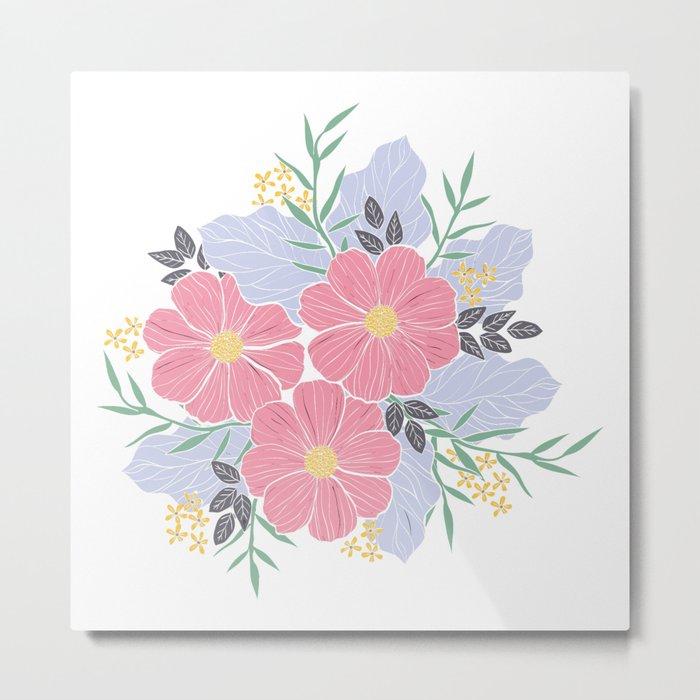 Vintage Pink Flowers Metal Print