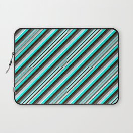 Blue Brown Black Inclined Stripes Laptop Sleeve