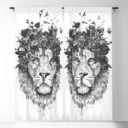 Floral lion (b&w) Blackout Curtain