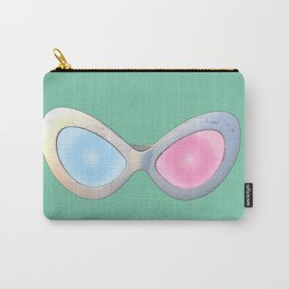 Blue and Pink Cat Eye Glasses Carry-All Pouch