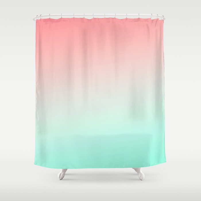 Ombre gradient digital illustration coral green colors Shower ...