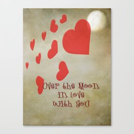 Over the Moon in Love Canvas Print
