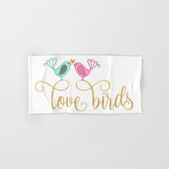 LOVE birds- Bird animal Gold Glitter Typography Hand & Bath Towel