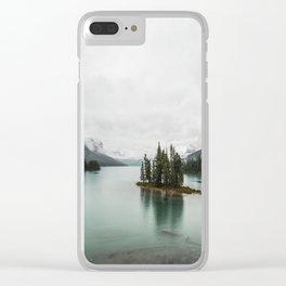 Landscape Photography | Spirit Island | Maligne Lake | Jasper Alberta | Emerald Water | Wall Art Clear iPhone Case