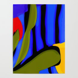 Abstract Art Red Blue Green Yellow Poster
