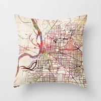 memphis Throw Pillows featuring Memphis by MapMapMaps.Watercolors