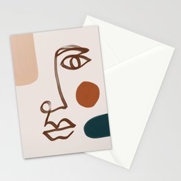 Face Line Art-Abstract Shape Composition Stationery Cards