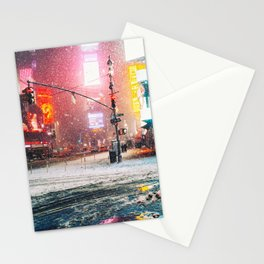 New York City Snow in Times Square Stationery Cards