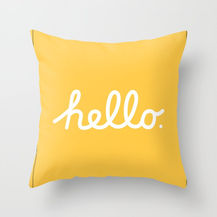 Hello: The Macintosh Office (Yellow) Throw Pillow
