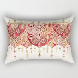Royal Red Art Deco Double Drop Rectangular Pillow