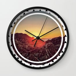 Peel sunset - small triangle graphic Wall Clock