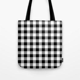 Black and White Country Buffalo check Tote Bag