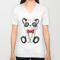doll V-neck T-shirts featuring Panda Doll by Freeminds
