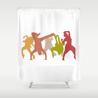 hip hop Shower Curtains featuring Colorful Hip Hop Dancers by PeculiarDesign