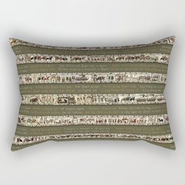 Bayeux Tapestry on Army Green - Full scenes & description Rectangular Pillow