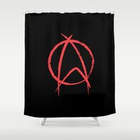 anarchy Shower Curtains featuring Federation Anarchy by The Cracked Dispensary