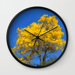 Blooming tree Geometric yellow and blue Wall Clock