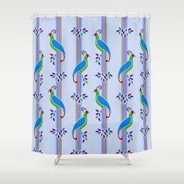 Vintage Art Deco Birds and Stripes Pattern 2 Shower Curtain