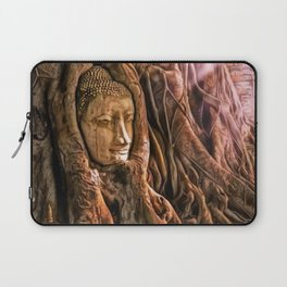Ayutthaya Temple, Wat Mahathat, Thailand with rich sunlight playing across Buddha's head in tree Laptop Sleeve