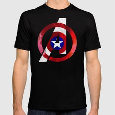 Captain America Avengers Black Mens Fitted Tee SMALL