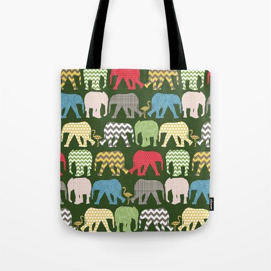 baby elephants and flamingos green Tote Bag