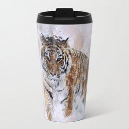 KING watercolor Siberian Tiger Travel Mug