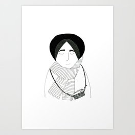 Girl with camera. Art Print