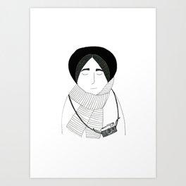 Girl with camera. Art Print