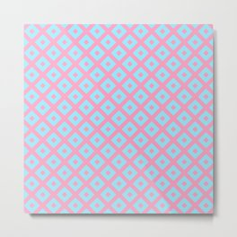 Geometric blush pink teal abstract argyle diamond pattern Metal Print