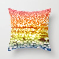 glitter Throw Pillows featuring Rainbow Glitter Sparkles by WhimsyRomance&Fun