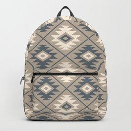 Aztec Symbol Stylized Pattern Blue Cream Sand Backpack