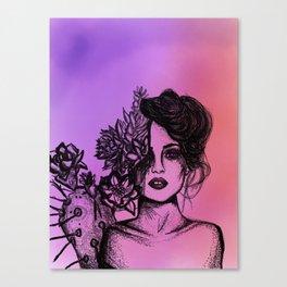 Sunset Succulent Babe | Sunset | Succulents | Cacti | Cactus | Succulent | Portrait | Pink | Orange Canvas Print