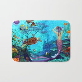 A Fish of a Different Color - Mermaid and seaturtle Bath Mat