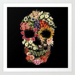 Floral Skull Vintage Black Art Print