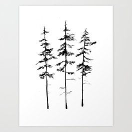 Minimal Pine Trees Art Print