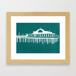 Seaside Pier in Turquoise Framed Art Print