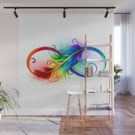 Infinity Symbol with Rainbow Feather Wall Mural