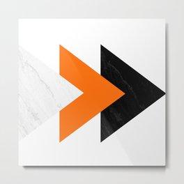 Forward arrows marble orange Metal Print