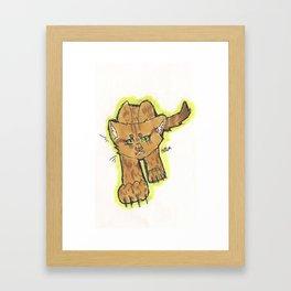Snarling Cartoon Cat Framed Art Print