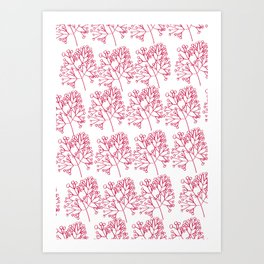 branches red graphic nordic minimal Art Print